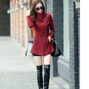 Xuxi 2019 moda inverno elegante pescoço casaco de lã quente mulheres casuais casaco fino plus size s-xxl fz304