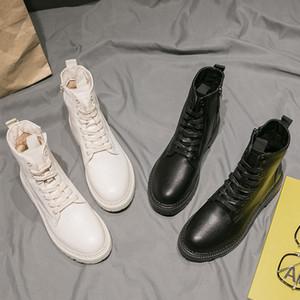 Hermosa mujer de Martin botas, Colegio Stylevv del zapato con cordones zapatos de la muchacha, estilo británico Negro cortos y frescos botas, impermeable Aumento