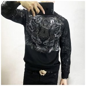 Freeship Sweatshirts Style Noir Bling Manches / Tigre De Mode / Spectacle Tiger Perles Mens Longue Shopping Strass JMRRB