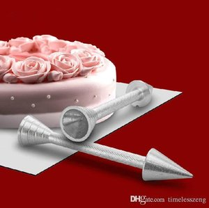 스틱 크림 로즈 장식 바늘 무료 배송 장식 13cm 알루미늄 합금 디저트 장식 케이크 장식 도구