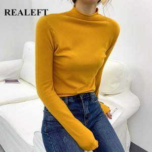 REALEFT New 2020 Autumn Solid Multi Color Sweater Turtleneck Knitted Women Sweater Long Sleeve Basic Pullover Tops Female