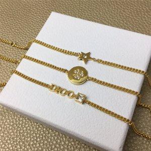 Star Circle Charm Bracelet Classic Letter Three-piece Bracelet Elegant Crystal Bracelets Lady Wedding Party Jewelry Women Gift Bracelets