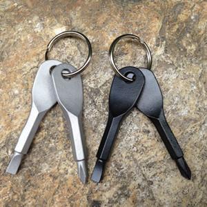 2pcs / set el anillo de tecla destornilladores llavero del bolsillo al aire libre Mini destornillador con Ranura Phillips mano clave colgantes RRA2057