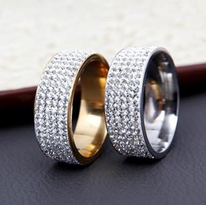 Chanfar 5 Rows Crystal Stainless Steel Ring Women for Elegant Full Finger Love Wedding Engagement Rings Jewelry Men