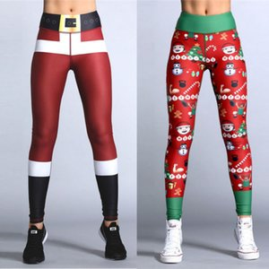 2017 Felice Anno Nuovo regalo di Natale Leggings Albero della neve di stampa Slim a vita bassa allenamento fitness Le donne delle ghette dei pantaloni