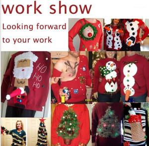 Cadeau de Noël T-shirts personnalisés Hommes Noël Imprimé cadeau rouge à manches longues Tops Designer