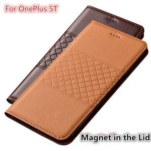 QX01 Hakiki Deri Telefon Kılıfı Kart Sahibinin Ile OnePlus 5 T Için OnePlus 5 T Için Flip Case
