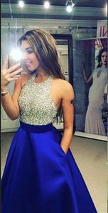 New evening Dresses Long fashion prom dresses sexy royal blue sleeveless round collar bodice crystal beading evening Dress