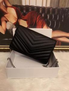 Tasarımcı çanta toz torbasının ile havyar metal zincir gümüş Tasarımcı Çanta Gerçek Deri çanta çevir kapak diyagonal Omuz Çantaları koyun derisi