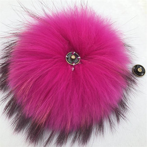 "15cm 6""-Rose Red Soft Real Genuine Raccoon Fur Pompom Ball W Button On Hat Bag Charm Key Chain Keyring DIY Accessories"
