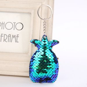 Cute Pineapple Keychain Glitter Pompom Sequins Key Ring Gifts for Women Llavero Chaveros Charms Car Bag Accessories Key Chain