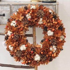 Harvest Decor Agriturismo Corona Natura Fiori Cotone legno rustico Decorazione di caduta Hanging Front Door Wreath Ringraziamento