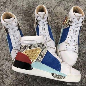 Erkekler için Yüksek üst + lüks Loubikick Düz Kırmızı Alt Sneaker Ayakkabı, Kadınlar Dikenler Açık Partisi Moda Casual Yürüyüş Ayakkabı