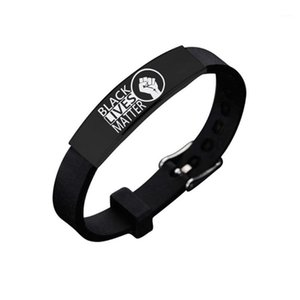 American Protest Black Lives Matter Silicone Stainless Steel Black Elbow Bracelet New Arrival Black Power Jelly Bracelet1