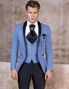 Alta qualità Scialle risvolto Beige One Button smoking dello sposo abiti da uomo da sposa / Prom / Cena Best Man Blazer (Jacket + Pants + Tie + Vest) W18