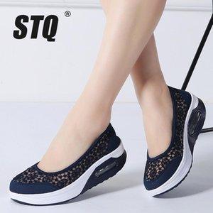 STQ 2019 Yaz kadınlar düz platform ayakkabılar kadınlar nefes rahat spor ayakkabıları ayakkabı kadınlar için bir platform yürüyüş ayakkabıları kayma