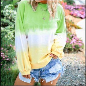 Rainbow Gradient Color Womens Hoodies Loose O Neck Long Sleeve Ladies Sweatshirts Spring Fashion Plus Size Female Pullovers