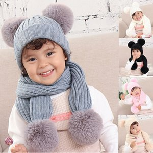 hat pompom Baby Solid Winter beanies Warm Thread Knit Wrap Double Hair Ball Head Cap Scarf Hat Suit gorro invierno mujer #x21025