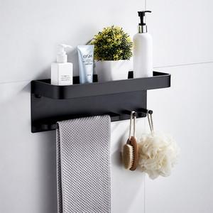 Étagère de la salle de bain en aluminium noir coin étagère carrée baignoire de douche tablette murale de stockage mural d'organiseur avec crochets et barre de serviette