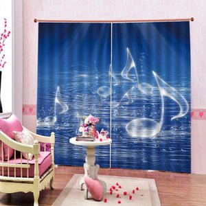 Creative custom Music 3 D Blackout Curtain Water With Musical Dancing Waves Fantasy Music For Living room Bedroom Window Drapes Sets