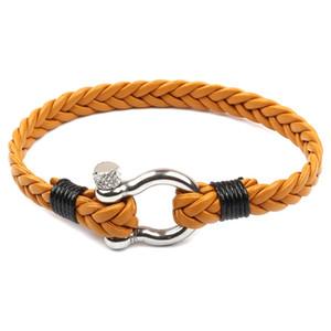 Mão-de malha bracelete pulseira Homens e mulheres pulseira de couro Selvagem multi-camada tecida multi-cor Aço inoxidável fivela maré homens jóias