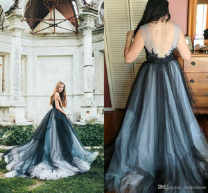 Gothic Wedding Dresses Colorful Tulle Black Navy Open Back Lace Appliques Sheer Neck Country Wedding Gowns Fashionable Design Bohemian Style