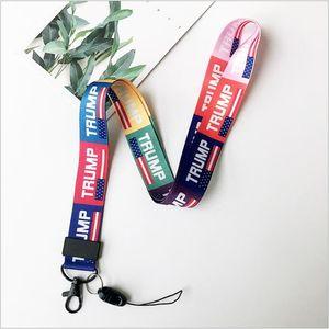 Trump 2020 Lanyard Keys Straps US Flag Striped Print Cellphone Lanyard ID Card Neck Strings Key Chains Chest Strap key ring Pendant A511