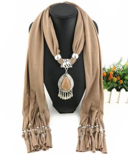 Newest Cheap Fashion Lady Scarf Direct Factory Rhinestones Drop Dangle Pendant Scarf Necklace Winter Scarf Women Neckerchief Designer Scarfl