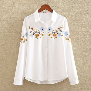 nvyou gou 2019 Floral Embroidered Blouse Shirt Women Slim White Tops Long Sleeve Blouses Woman Office Shirts plus size Y200402