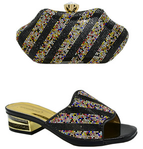 2020 Special Designer Black Color Nigerian Wedding Italian Shoe and Bag Set Nigerian Wedding Shoes and Bag for Party