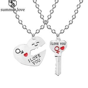 Vente chaude Je t'aime coeur pendentif collier porte-clés ensemble de bijoux pour les femmes couple romantique clé forme couple amant cadeau en gros