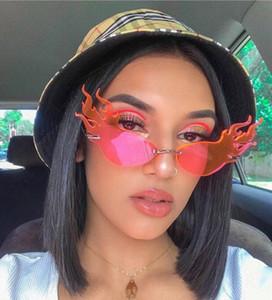Sin marco triángulo del ojo de gato llama gafas de sol para mujeres de los hombres de la personalidad de la alta calidad 2020 palo de la personalidad Gafas de sol Gafas de conducción S9052
