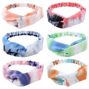 Мода Женщины Цвет Tie-краситель оголовье Спорт на открытом воздухе Модные Волосы Band Hairbands глава группы Cross Knot Упругие Headwrap Аксессуары для волос D61606