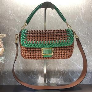 Compra Mujer Cruz Body Bags monederos bolsos del hombro de la moda Color Matching ganchillo tejido bolso de bandolera extraíble