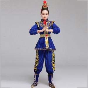 Klassische Drama-Tanz-Kostüm Oper blau Frauen Stage Performance Abnutzung Hua Mulan Cosplay Kleidung Alte Soldat Outfit