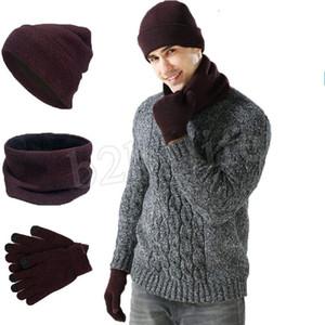 Sıcak Örgü Şapka Eşarp Eldiven Seti Erkekler Kadınlar Dokunmatik Ekran Eldiven Eşarplar Şapka Kalın Skullies kasketleri LJJM2366 set
