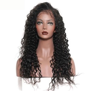 A Deep Wave Human Hair Wigs Bleached Knots Lace Frontal Wig Brazilian Indian Malaysian 100 %Human Hair Natural Color 10 -28inch