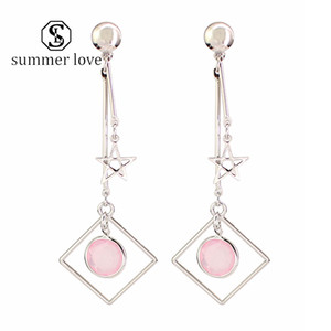 Hot Sale Geometric Star Leaf Charm Dangle Earring for Women Silver Long Chain Stud Earring Trendy Party Jewelry Gift 2020 -Y