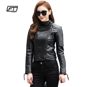 Fitaylor Autumn Women Punk Leather Jacket Soft PU Faux Leather Female Jackets Basic Bomber Leather Coats T5190612