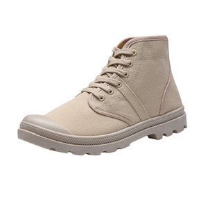 Men Canvas Shoes 2019 Fall New Boots Casual High-Top Lace-Up Canvas Shoes Students Classic Non-Slip Hiking Shoes Winter Boots