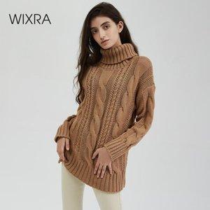 Wixra Nuovo Chunky maglione dolcevita Donna Autunno Inverno solido scava fuori maglia Pullover Jumpers allentate Maglioni