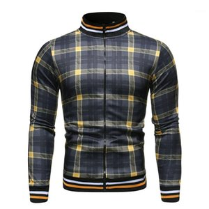 Casacos Primavera manga comprida Fique Collar Mens Coats Casual Masculino Underwear Plaid Mens impresso