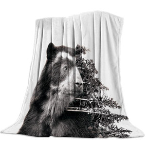 Artistic Close-Up Bear Nap Blanket Super Soft Cozy Coral Fleece Throw Blanket Bedspread for Couch Throw Travel Home Textile