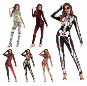Halloween Scary Props Adult Dancing Party Stagewear Digital Printed Jumpsuits Cosplay Catsuit Costumes