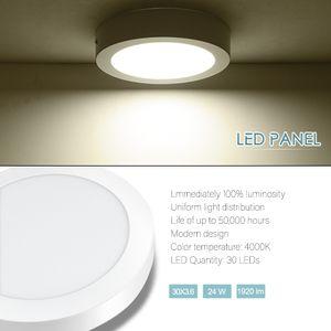 LED rotondo pannello chiaro 24W 480LM Surface Mounted soffitto per le lampade a risparmio energetico Super luminosità della lampada della cucina LED Bagno Ristorante