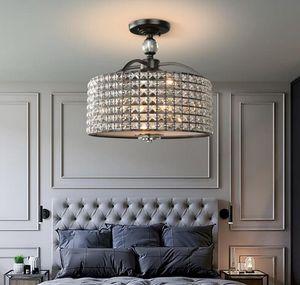 كريستال قطر الثريا الإضاءة 42CM الكروم خمر أسود مصباح سقف غرفة المعيشة غرفة نوم مدخل بهو شرفة MYY خفيفة