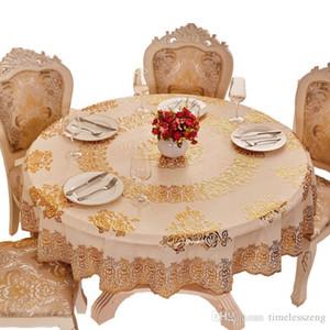 1 PCS estilo europeo estampación en caliente paño de mesa de diseño a prueba de aceite resistente al agua 12 limpie la cubierta mesa limpia cena elegante casa redonda mantel