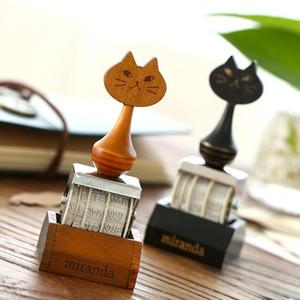 Al por mayor- 1pc Cartoon Cat Vintage Date Stamp DIY Stamp Roller Knob Cute Stamps