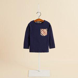 2019 automne garçons T-shirt designer enfants occasionnels tops enfants plaid poche manches longues chemise de mode garçon vêtements F8694