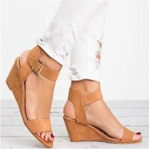 Summer 2020 New Women Sandals Wedge High Heels Fashion Casual Shoes Woman Platform Basic Buckle Strap Plus Size 34-43